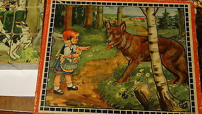 Victorian Era 6 sided Wood Grimm PUZZLE BLOCKS Snow white RED RIDING HOOD
