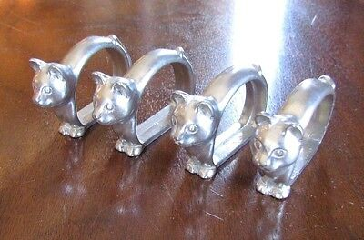 Seagull Pewter Rare CAT Napkin Rings Set  OF 4 Vintage 1986