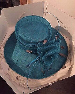 Teal and grey Mother Of The Bride wedding hat worn once, great condition