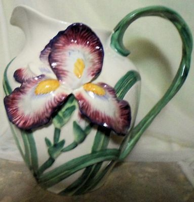 Vintage Porcelain Hand Painted Fritz & Floyd Purple Iris Water Pitcher 1990
