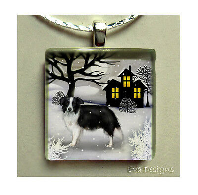 Border Collie Dogs Necklace Jewelry Gift Pet Art Charm Beaded Glass Tile Pendant