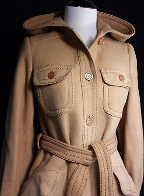 EXC Womens Mid Century MOD Belted Wool Jacket Coat UTEX Small Hooded Warm Winter
