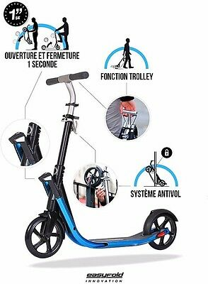 Blue Town 7 Easy Fold Adult Scooter Anti-vibration Dampeners Effortless