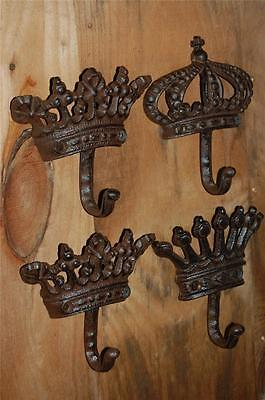 SET 4 KING QUEEN CROWN Corona Wall Hooks Hangers Restoration IRON Hardware Chic
