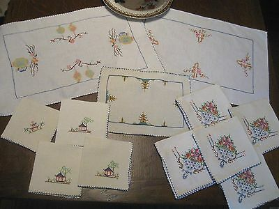 Pretty LOT 12! Antique/Vntg CROSS-STITCH EMBROIDERY Cocktail Napkins Table Mats!
