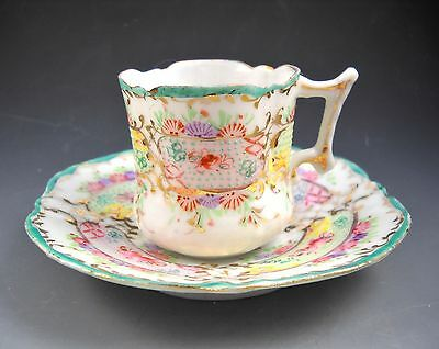 Antique Unmarked Fine Porcelain Handpainted Demitasse Cup and Saucer