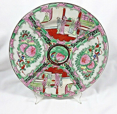 Vintage Chinese Famille Rose Medallion Plate w/ Stand 10""