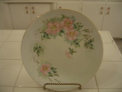 Beautiful Vintage Hand Painted HP Decorative Plate With Pink Wild Roses Signed