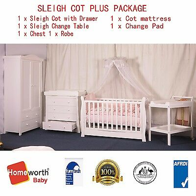 NEW SLEIGH COT change table CHEST Robe ORGANIC mattress Pad package  white