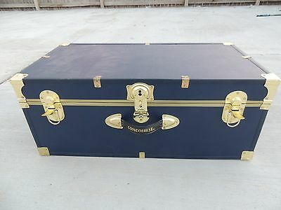Vintage Concourse Steamer Travel Trunk Blue With Gold Trim Large 50208