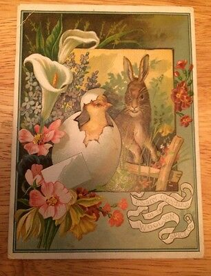 Victorian Trade Card - The Woolson Spice Co - Lion Coffee - Easter Greetings