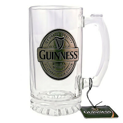 NEW! Official Guinness Glass Tankard/Stein With Pewter Logo Label Badge 2650