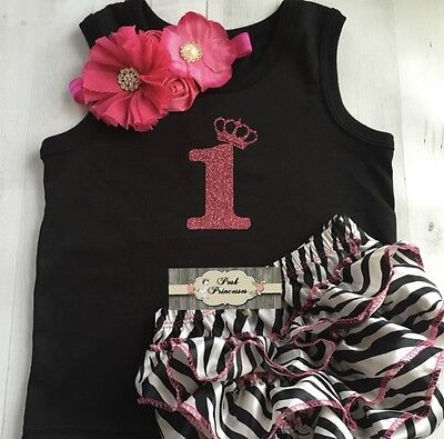 1st Birthday Girl Glitter 1 With Tiara 3pc Outfit Hot Pink Glitter One Tank