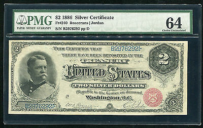 """Fr. 240 1886 $2 """"hancock"""" Silver Certificate Pmg Choice Uncirculated-64"""