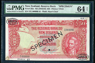 "PICK# 162s ND (1940-67) £50 NEW ZEALAND RESERVE BANK ""SPECIMEN"" PMG UNC-64"