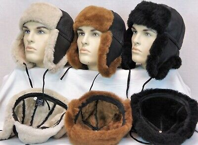 Real Sheepskin Shearling Leather Bomber Trapper Ushanka Hunting Fur Hat M-3XL