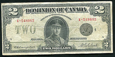Dc-261 1923 $2 Series X-X Group 4 Black Seal Dominion Of Canada Very Fine