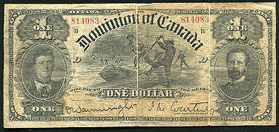 1898 $1 One Dollar Dominion Of Canada Currency Banknote Scarce