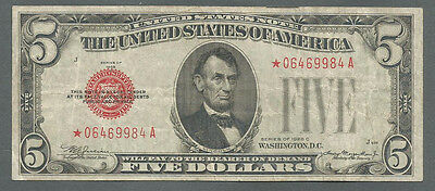 *star* 1928-C $5 Five Dollar Red Seal United States Note **rare**