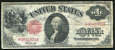 """Fr. 37* 1917 $1 *star* Large Size """"sawhorse Back"""" Legal Tender Note Rare"""