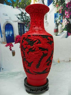 Chinese Old Red Lacquer Carve Dragon Big Vase with base