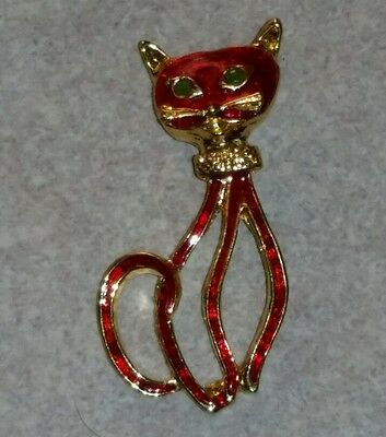 Metal Kitty Cat Necklace Pendant Red Gold Tone Kitten
