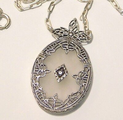 Antique Art Deco Sunray Crystal Camphor Glass & Diamond Necklace Sterling Silver