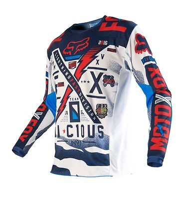 Fox NEW Mx 2016 180 Vicious Blue White Red Adult Motocross Dirt Bike Jersey