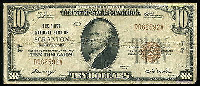 1929 $10 The First National Bank Of Scranton, Pa National Currency Ch. #77