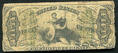 """50 Fifty Cents Third Issue """"justice"""" Fractional Currency Note"""