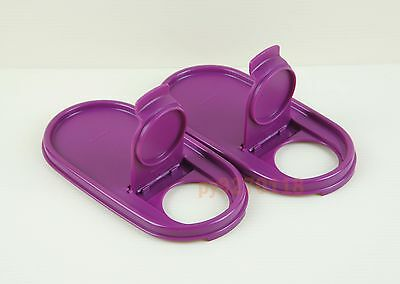 Tupperware Modular Mates Purple Oval Pour-All Lids Set of 2 + Free Shipping