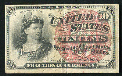 10 Ten Cents Fourth Issue Fractional Currency Note Extremely Fine