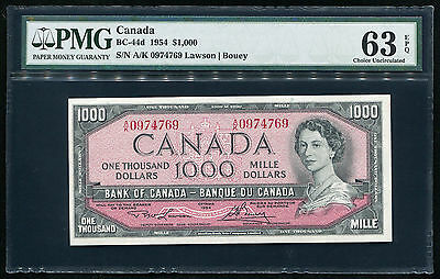 BC-44d 1954 $1000 ONE THOUSAND DOLLARS BANK OF CANADA BANKNOTE PMG UNC-63EPQ