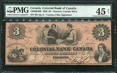 1859 $3 The Colonial Bank Of Canada Toronto, On Banknote Pmg Ef-45