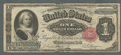 """Fr 223 1891 $1 One Dollar Large Size """"martha"""" Silver Certificate Note"""