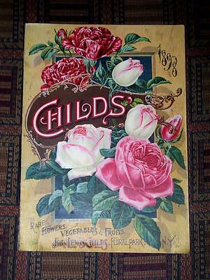 XRARE 1898 Childs Seed & Flower & Fruit catalog Floral Park NY chromolithographs