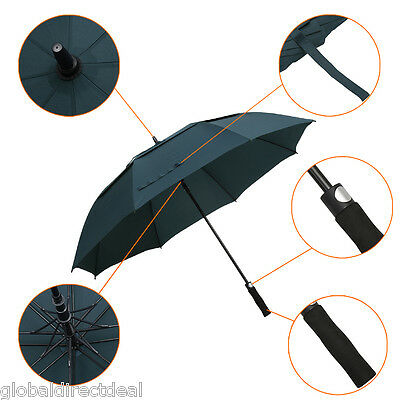 Automatic Golf Umbrella Anti Rain Windproof Double Canopy Release Vent Outdoor