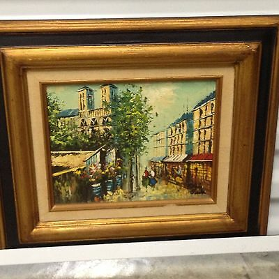 FRANCE  PARIS  CITY SCENE OIL ON WOOD PAINTING SIGNED ORIGINAL 16x14 inches
