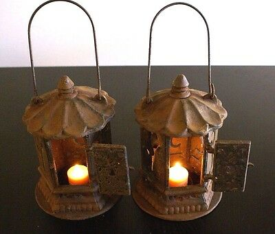 French vintage wall lantern pair wrought iron very rare hanging arm