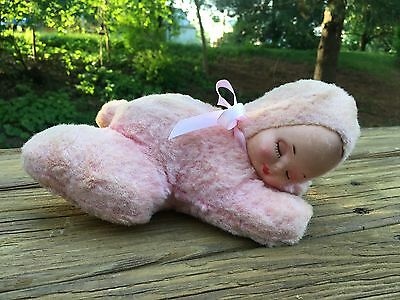 Antique Vintage Stuffed Sleeping Pink Baby Rubber/plastic Face