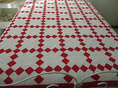Antique Hand Quilted Red White Quilt Christmas Vintage Irish Chain