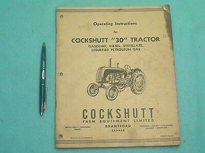 Cockshutt 30 Tractor Operating Instructions Manual