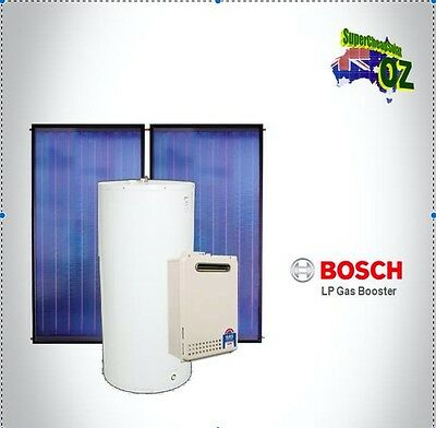 Solar Hot Water 300L Litre Inline LPG Natural Gas Boost System Collector Bosch