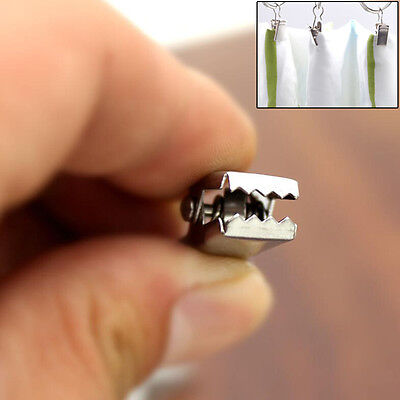 20 pcs Stainless Steel Window Shower Curtain Rod Clips Hooks Clips Rings Clips