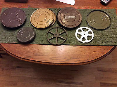"Vintage 8mm Lot of 7"" and 5"" Colorful Metal Reels & Cannisters"