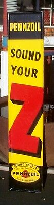 Vintage Metal Vertical Pennzoil Sign Gas Service Station Gasoline Oil 60inX12in