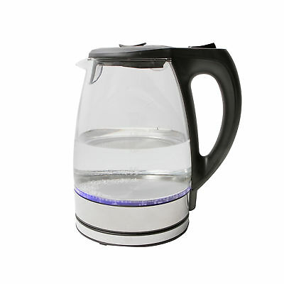 Duro 1.7L Glass Cordless Kettle 2200W LED Light Kitchen Electric Jug Home Clear