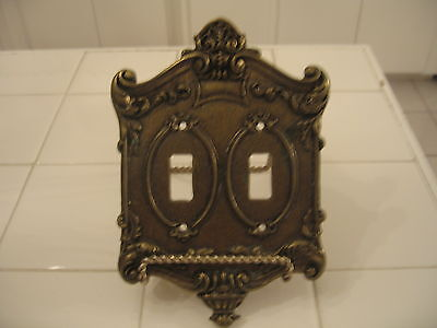 Vintage Original 1960's Gold Ornate Heavy Metal Double Light Switch Cover