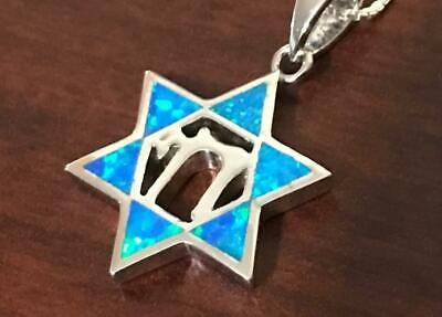 """star of david pendant Sterling Silver Opal And Chai Life In Hebrew 18"""" Necklace"""