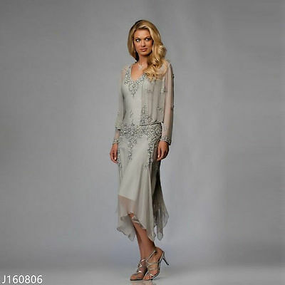 Plus Size Silver Mother Of The Bride Outfits with Jacket Tea Length Formal Dress